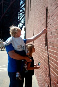 Checking out the rifle slits in the side of Fort Point.